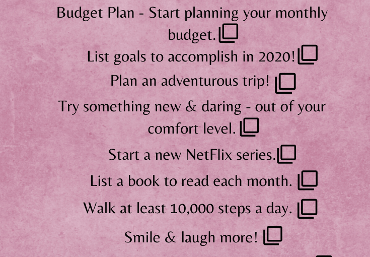 January To Do List!